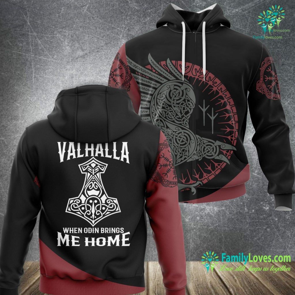 Bear Wood Carving Until Valhalla When Odin Brings Me Home Viking Viking Unisex Hoodie All Over Print Familyloves.com
