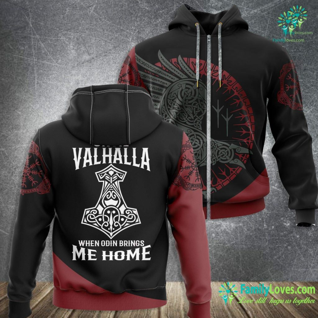 Bear Wood Carving Until Valhalla When Odin Brings Me Home Viking Viking Zip-up Hoodie All Over Print Familyloves.com