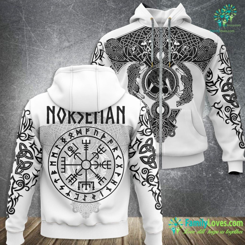 Berserker Rune Norseman Viking Vegvisir With Runes Viking Zip-up Hoodie All Over Print Familyloves.com