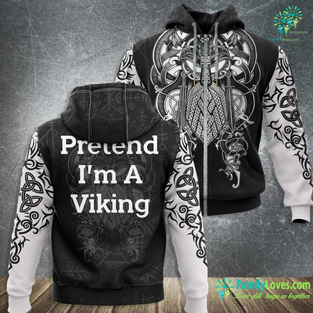 Celtic Symbols And Their Meanings Pretend I M A Viking Costume Funny Halloween Party Viking Zip-up Hoodie All Over Print Familyloves.com