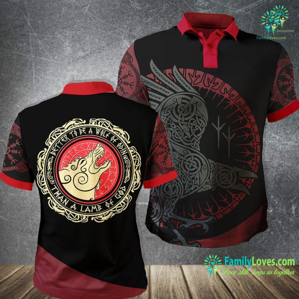 Dragons In Norse Mythology Viking Gift Better To Be A Wolf Of Odin Than A Lamb Of God Viking Polo Shirt All Over Print Familyloves.com