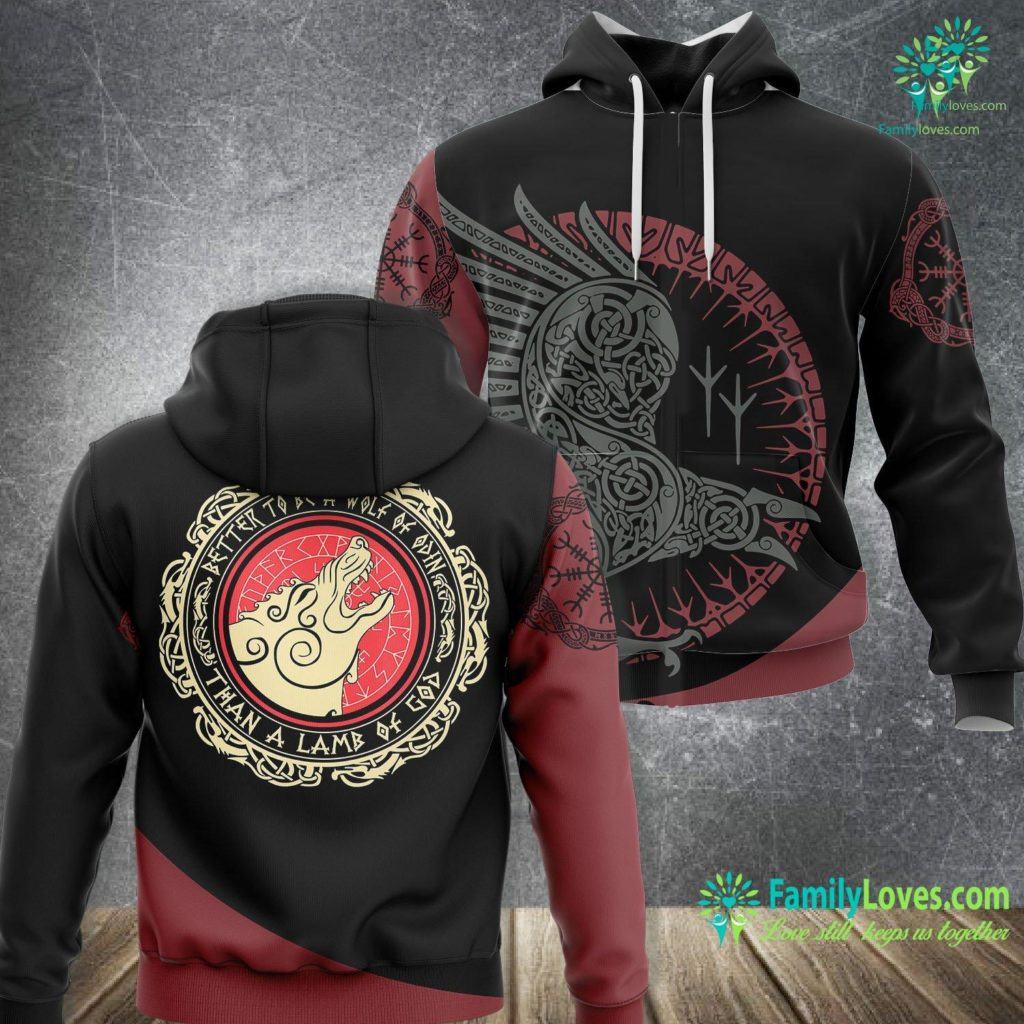 Dragons In Norse Mythology Viking Gift Better To Be A Wolf Of Odin Than A Lamb Of God Viking Unisex Hoodie All Over Print Familyloves.com