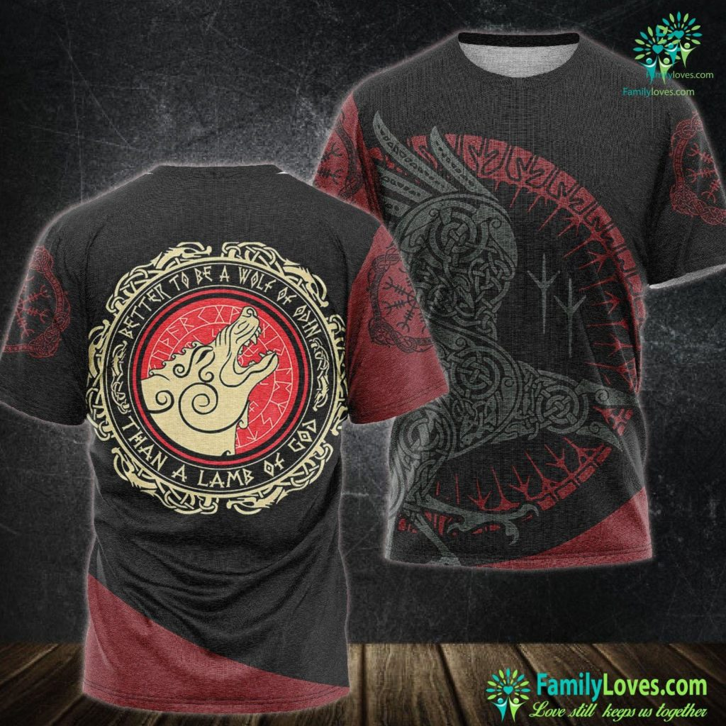Dragons In Norse Mythology Viking Gift Better To Be A Wolf Of Odin Than A Lamb Of God Viking Unisex Tshirt All Over Print Familyloves.com