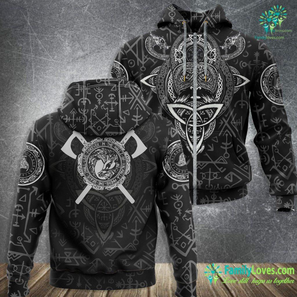 Elder Futhark Alphabet Fenrir Wolf Of Odin Norse Mythology Men Women Kid Viking Zip-up Hoodie All Over Print Familyloves.com