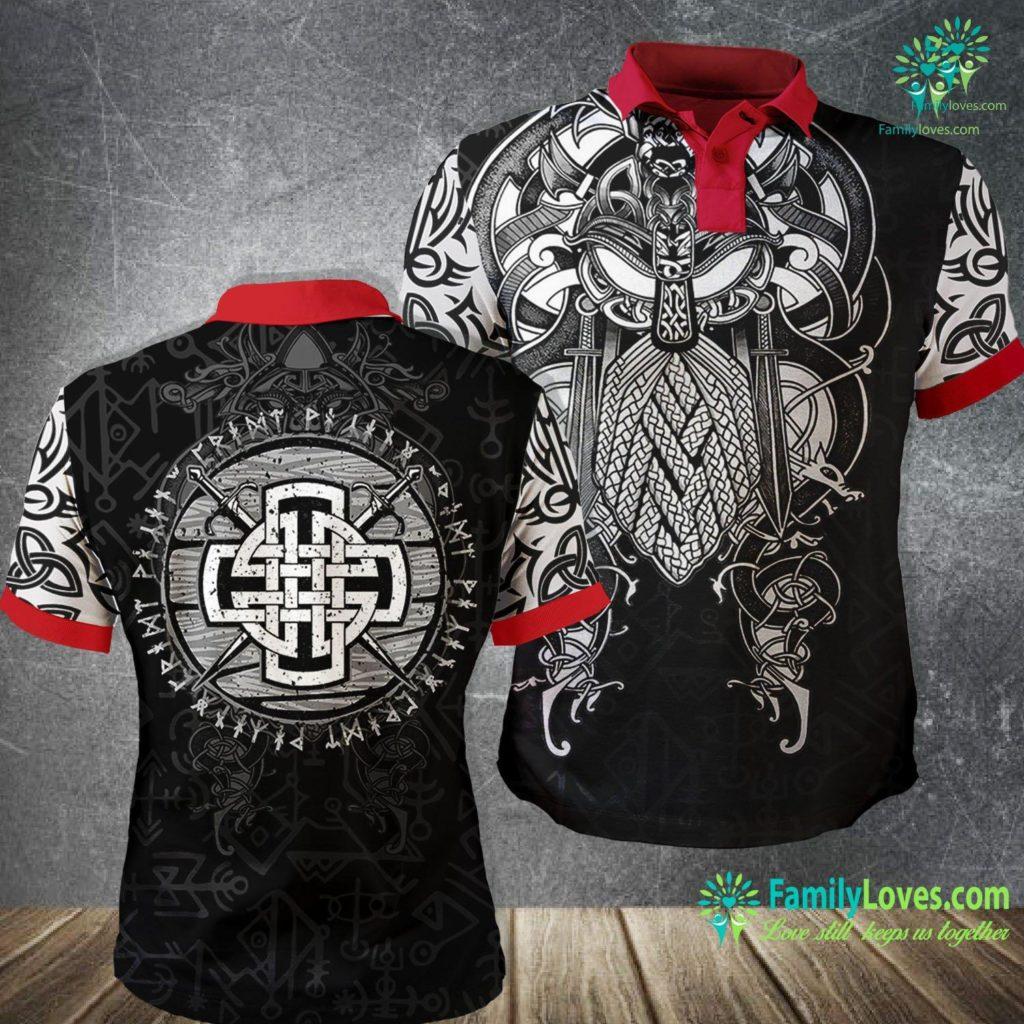 Elder Futhark Rune Meanings Mens Celtic Viking Cross Swords Wooden Distressed Runes Design Premium Viking Polo Shirt All Over Print Familyloves.com
