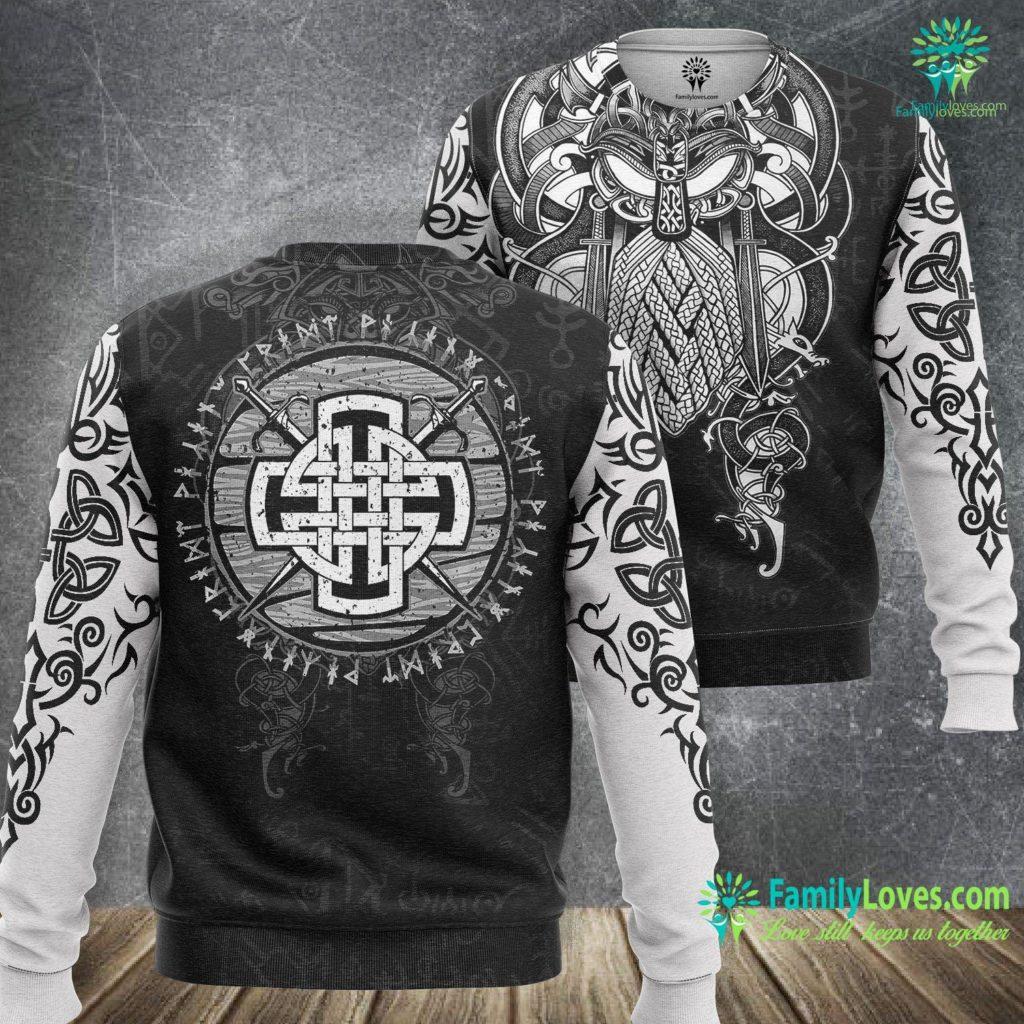 Elder Futhark Rune Meanings Mens Celtic Viking Cross Swords Wooden Distressed Runes Design Premium Viking Sweatshirt All Over Print Familyloves.com