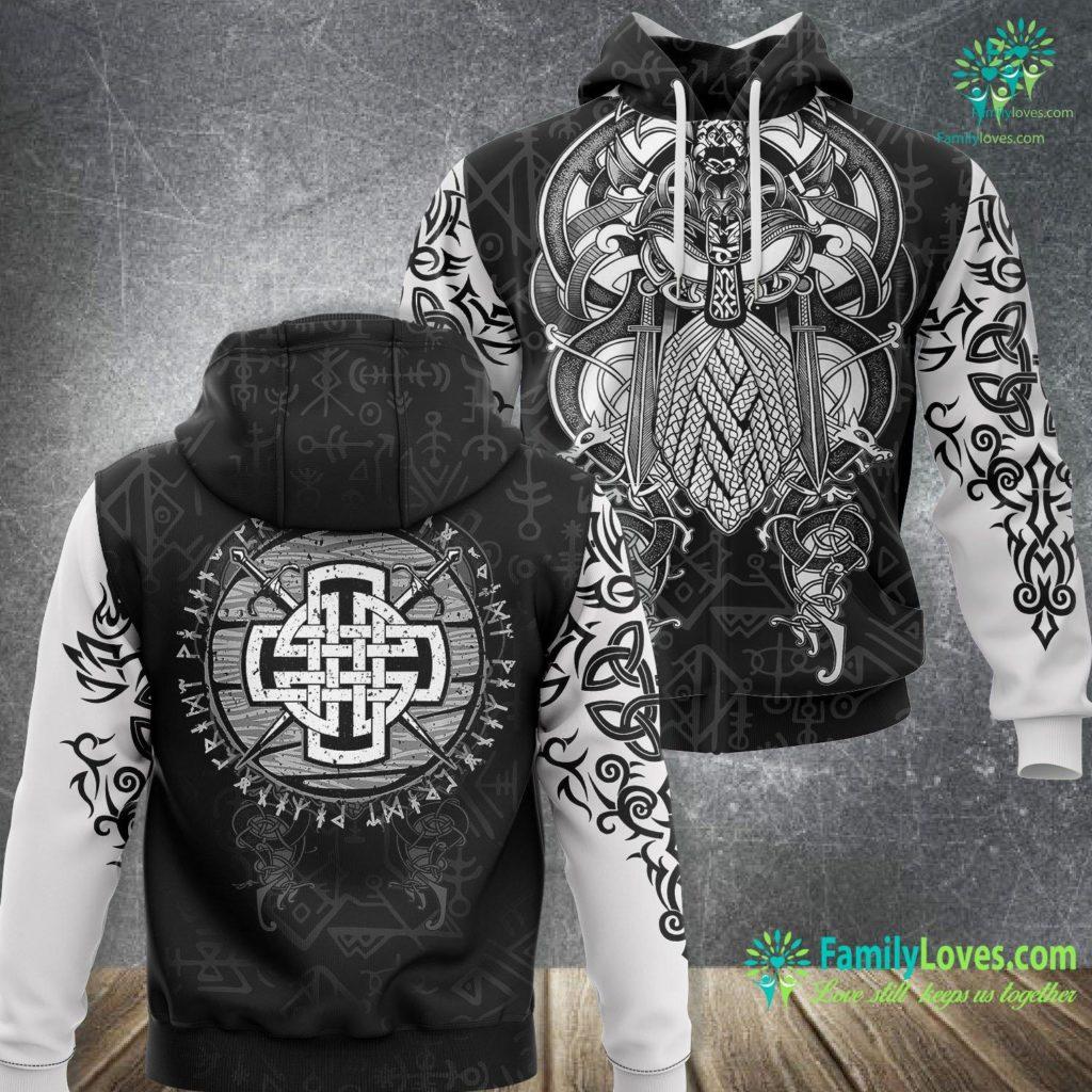 Elder Futhark Rune Meanings Mens Celtic Viking Cross Swords Wooden Distressed Runes Design Premium Viking Unisex Hoodie All Over Print Familyloves.com