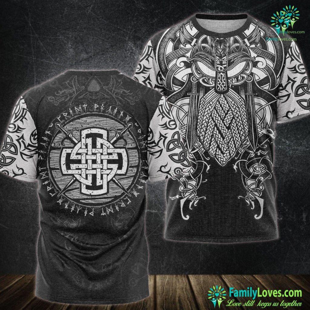 Elder Futhark Rune Meanings Mens Celtic Viking Cross Swords Wooden Distressed Runes Design Premium Viking Unisex Tshirt All Over Print Familyloves.com