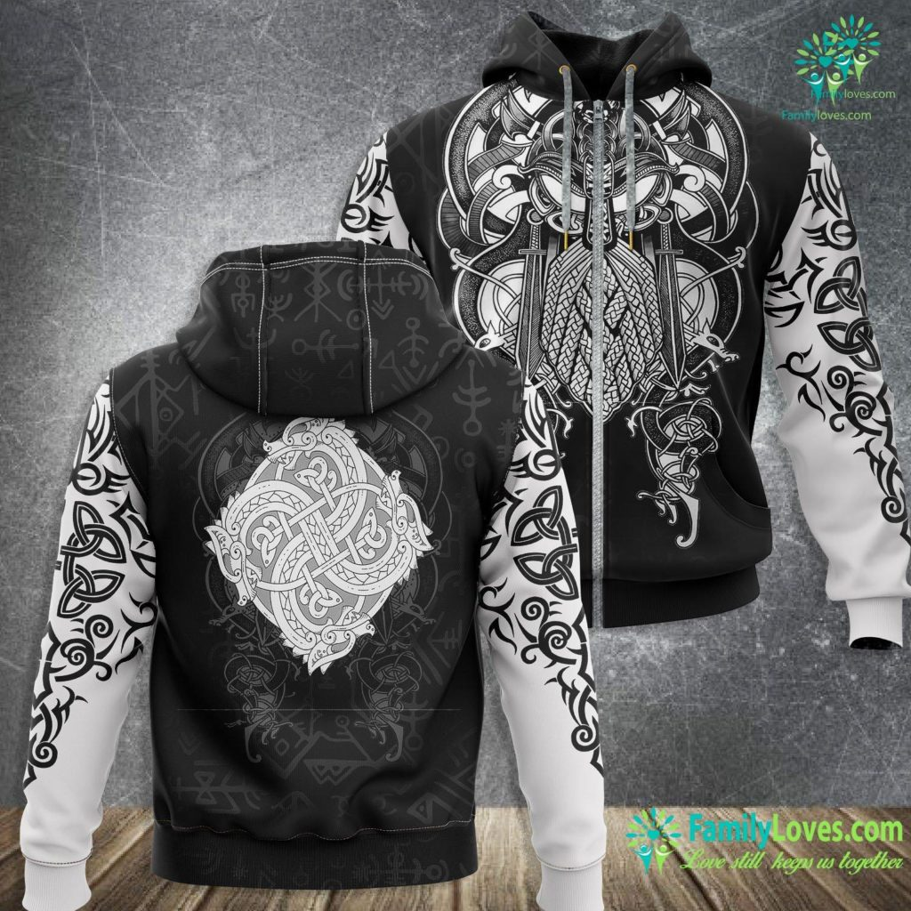 Elder Rune Norse Viking Style Dragon Gift For Vikings Lover Viking Zip-up Hoodie All Over Print Familyloves.com
