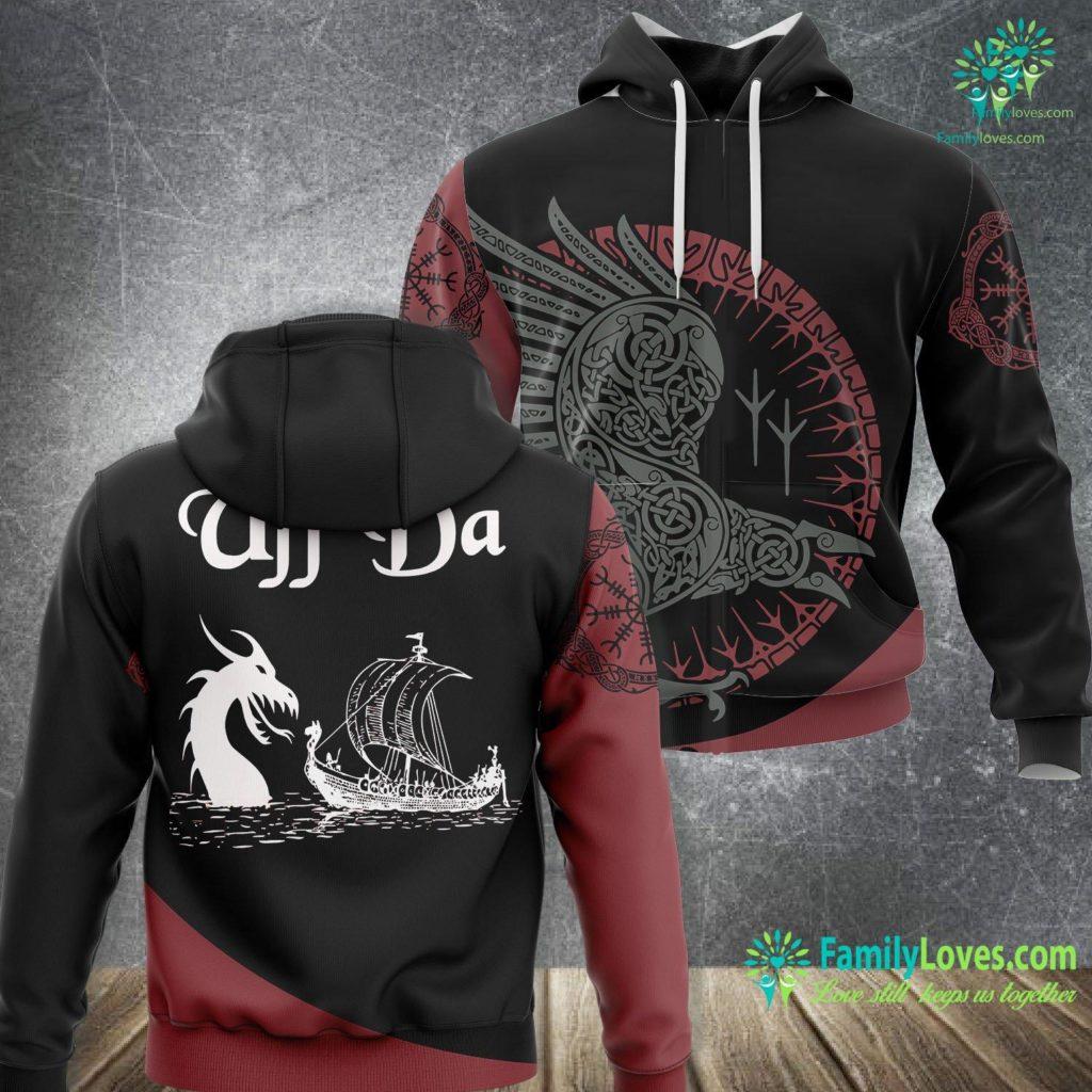 Fenrir Norse Mythology Uff Da Viking Boat And Dragon Viking Unisex Hoodie All Over Print Familyloves.com