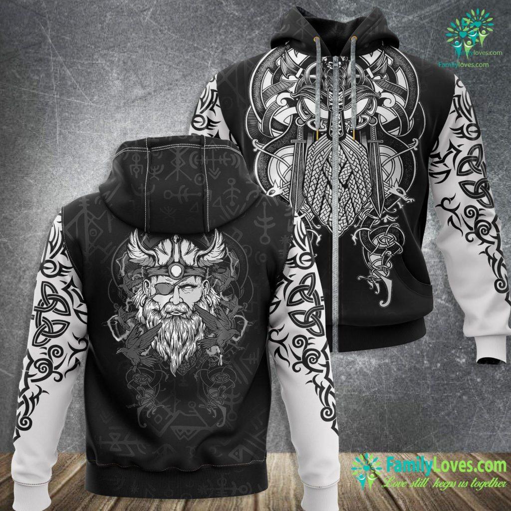 Geri And Freki Odin The Norse Mythology Viking God Amp His Ravens Viking Zip-up Hoodie All Over Print Familyloves.com