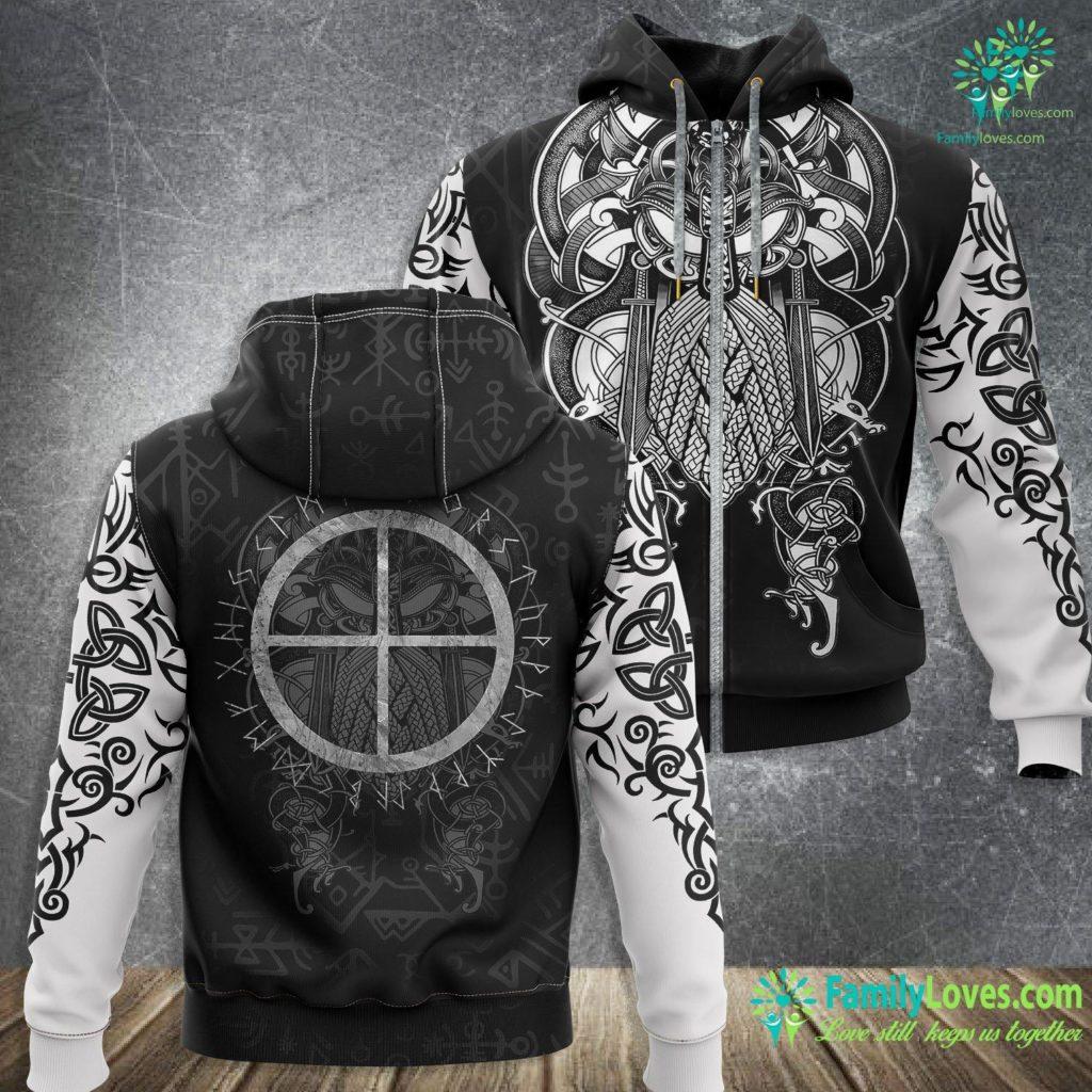 Mad Viking Solar Cross Viking Nordic Sign Rune Symbol Tee Viking Zip-up Hoodie All Over Print Familyloves.com