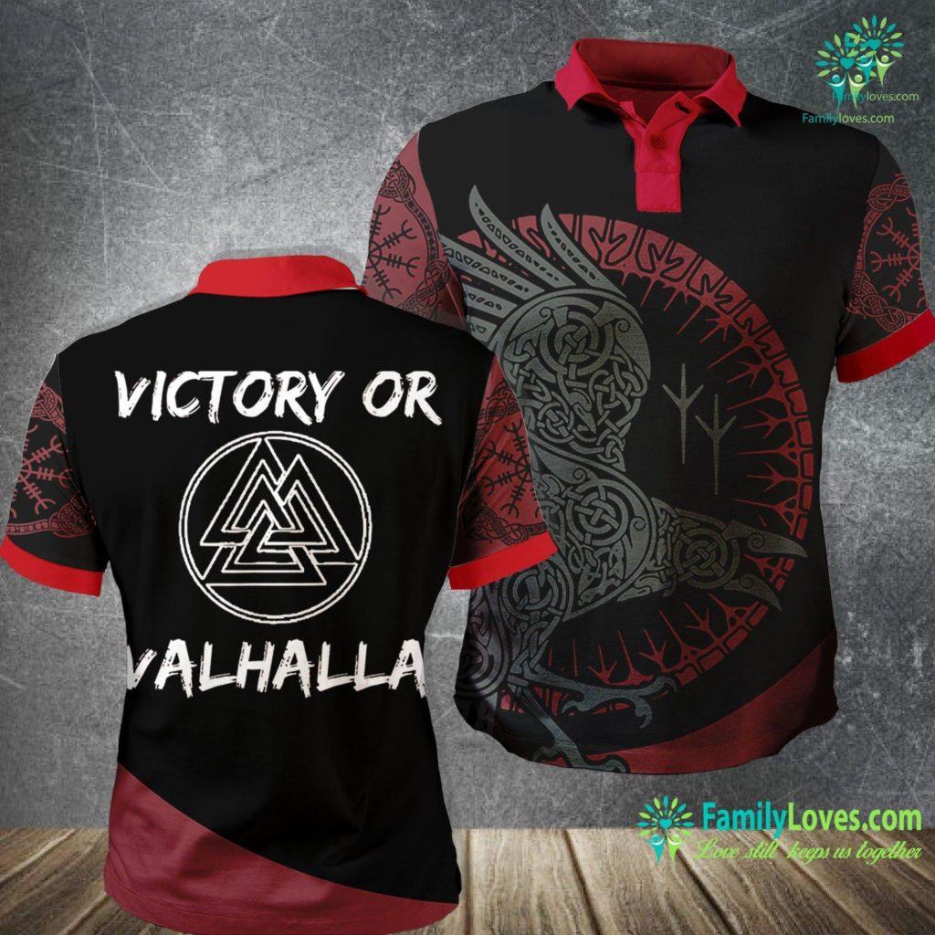Norse Designs Victory Or Valhalla Vikings Odin Valknut Rune Viking Polo Shirt All Over Print Familyloves.com
