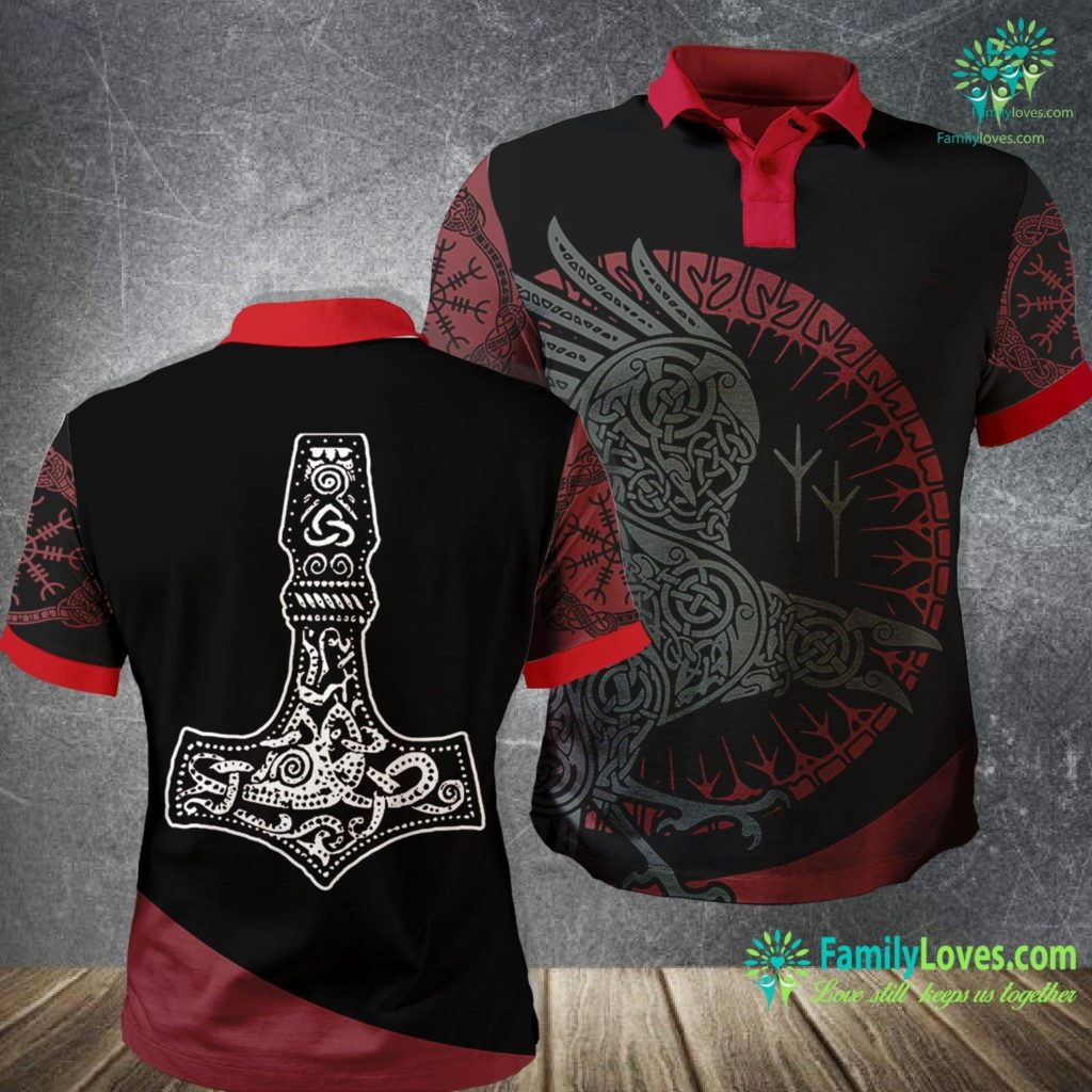 Norse Viking Symbols Thor S Hammer Vikings Viking Polo Shirt All Over Print Familyloves.com