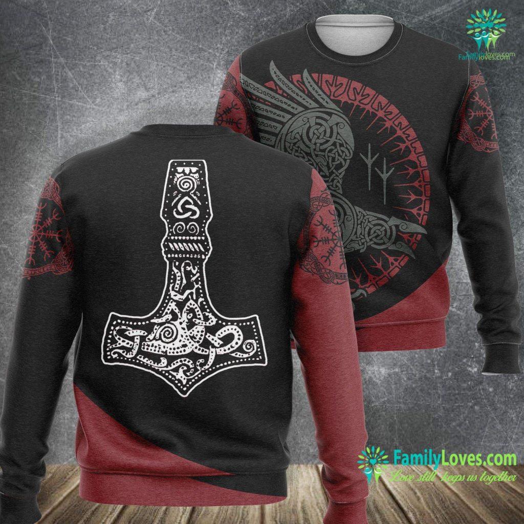 Norse Viking Symbols Thor S Hammer Vikings Viking Sweatshirt All Over Print Familyloves.com