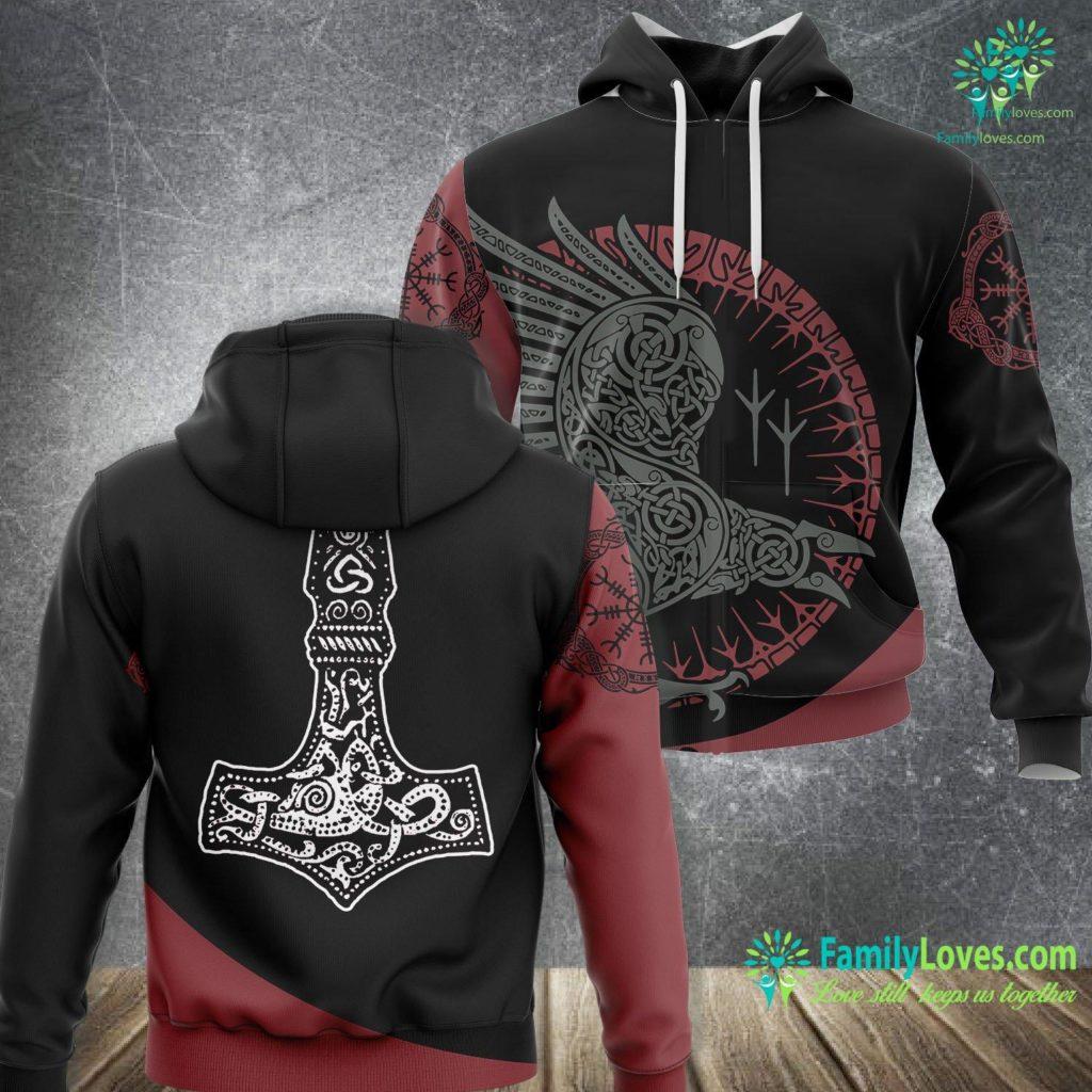 Norse Viking Symbols Thor S Hammer Vikings Viking Unisex Hoodie All Over Print Familyloves.com