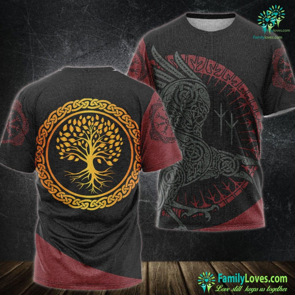 Norse Vikings Yggdrasil Nordic Viking Tree Of Life Premium Viking Unisex Tshirt All Over Print Familyloves.com