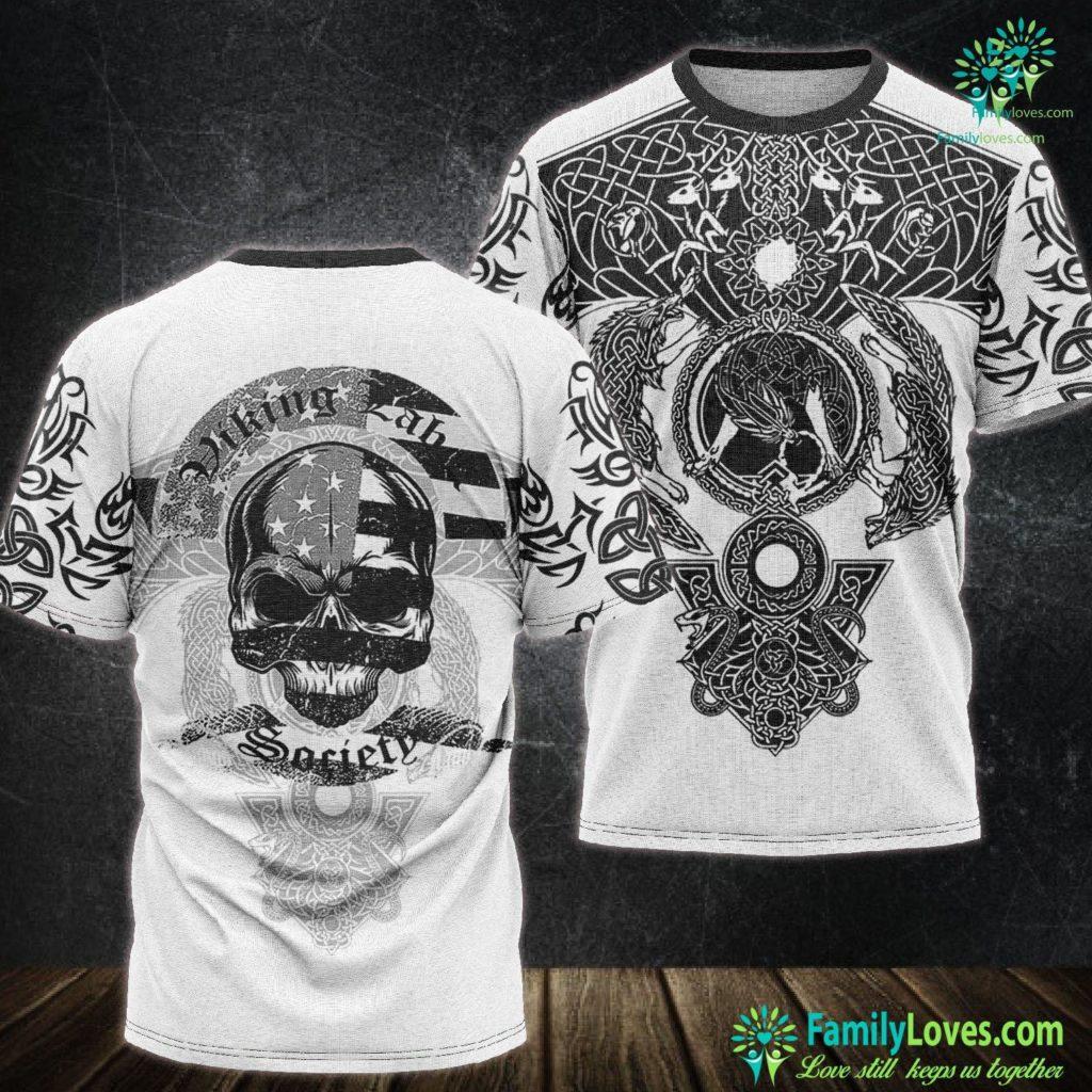 Ragnar Lothbrok Sons Viking Label Society American Flag Skull Viking Unisex Tshirt All Over Print Familyloves.com