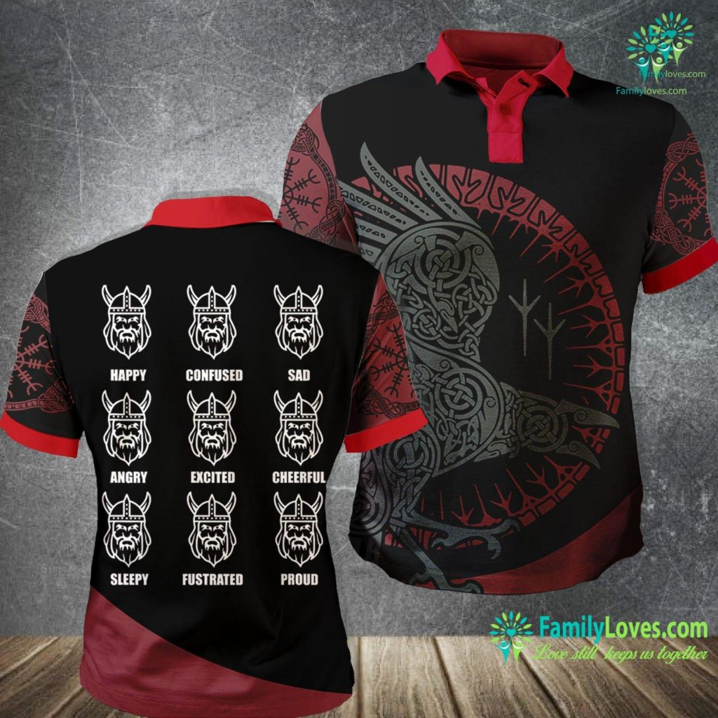Ragnarok Norse Mythology Viking Emotions Graphic Norway Face Iceland Sweden Viking Polo Shirt All Over Print Familyloves.com