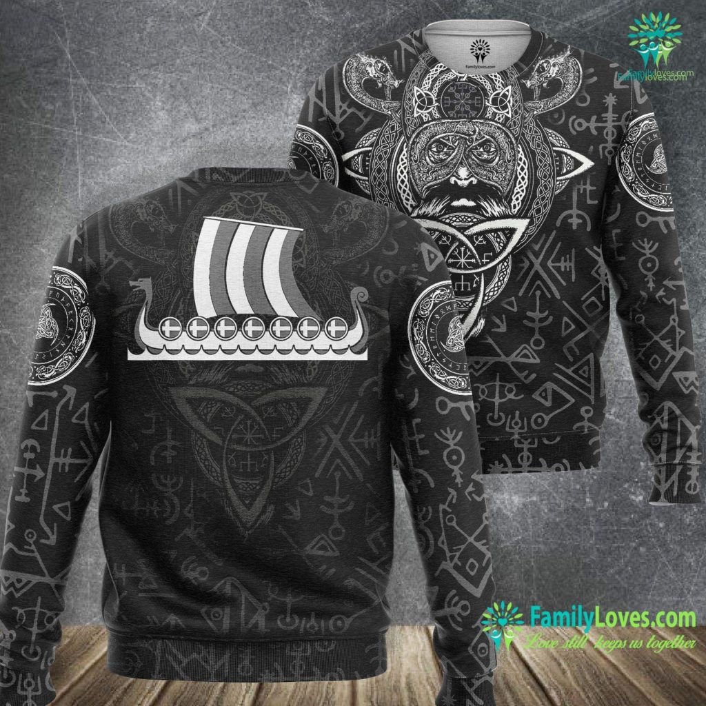Real Thor Iceland Viking Ship Gift Icelandic Flag Dragon Boat Viking Viking Sweatshirt All Over Print Familyloves.com