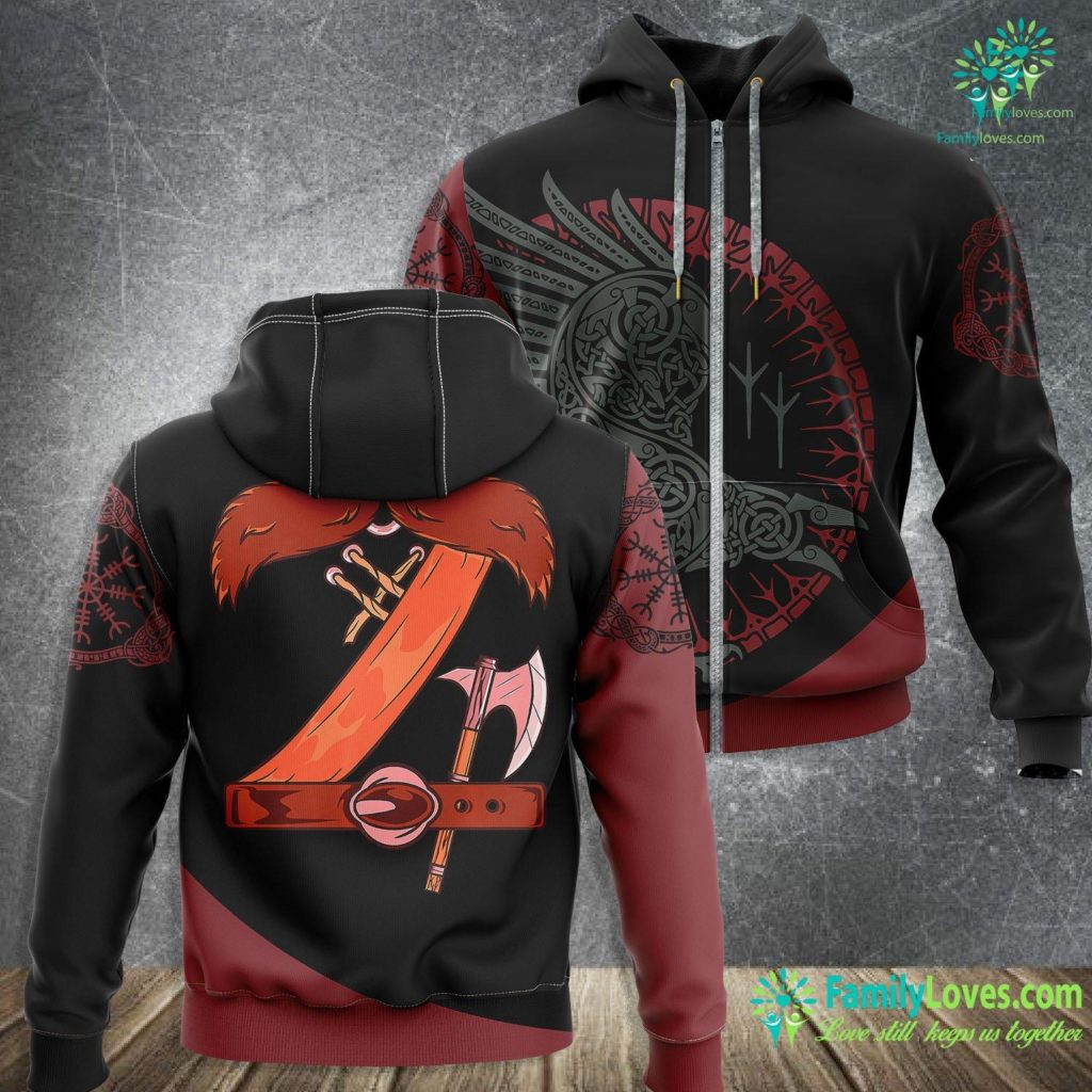 Runes And Meanings Viking Costume Halloween Mustache Belt Axe Cosplay Outfit Premium Viking Zip-up Hoodie All Over Print Familyloves.com