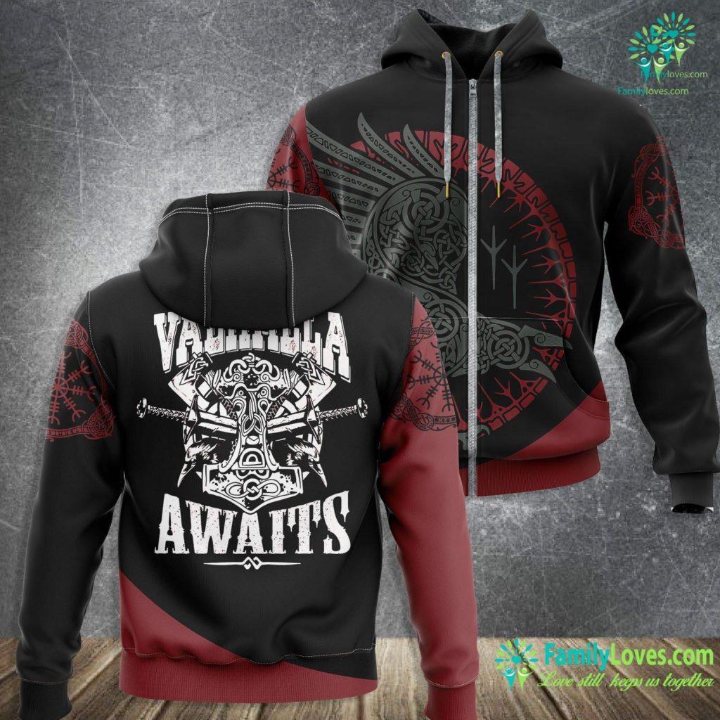 Runess Viking Warrior Quote Gift Valhalla Awaits Meme Premium Viking Zip-up Hoodie All Over Print Familyloves.com