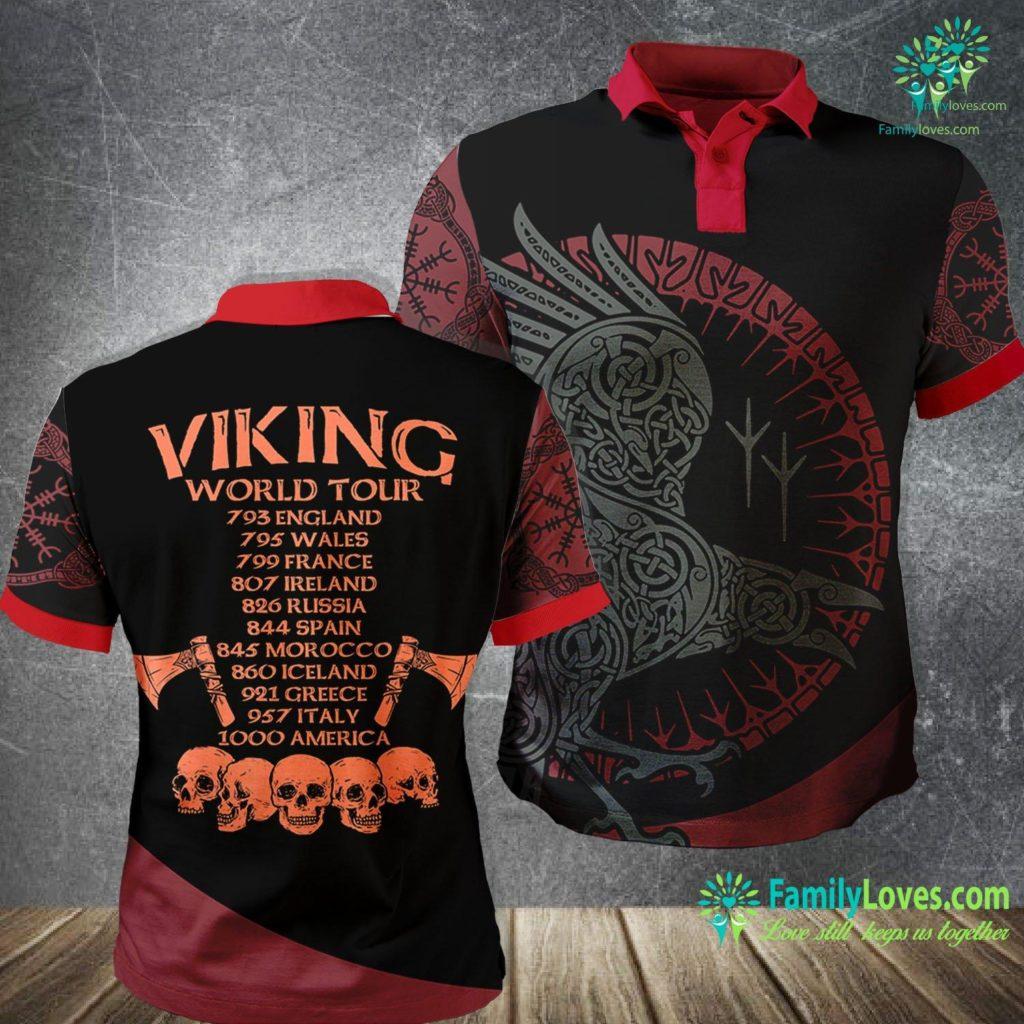 Scandinavian Symbols Viking World Tour Viking Vintage Cool Tee Gift Viking Polo Shirt All Over Print Familyloves.com