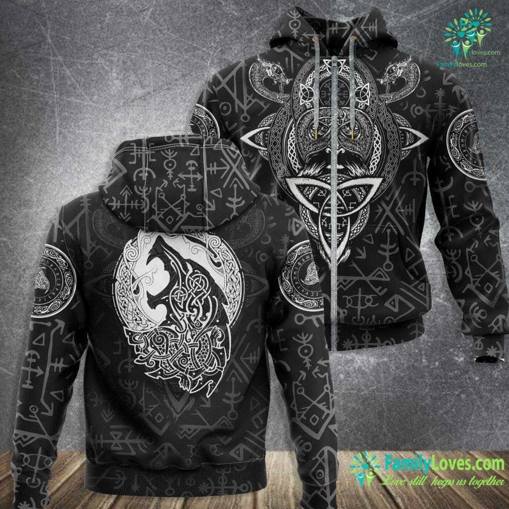 Ship Decor Fenrir Ragnarok Wolf Of Odin Norse Runes Vikings Norsemen Viking Zip-up Hoodie All Over Print Familyloves.com