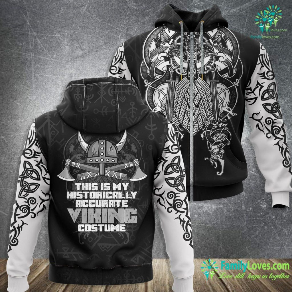 ThorS Hammer Name Lazy Viking Costume Funny Helmet Axe Halloween Party Outfit Premium Viking Zip-up Hoodie All Over Print Familyloves.com