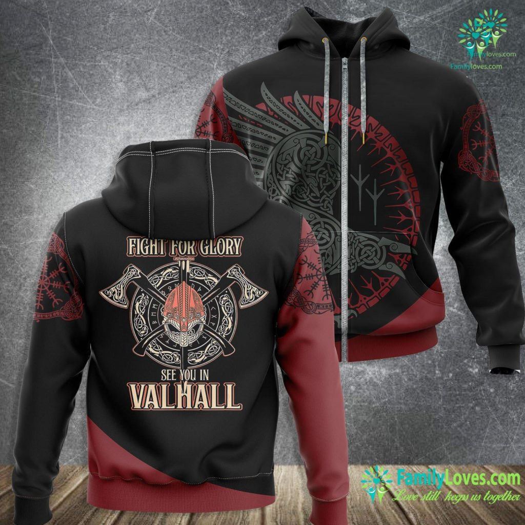 Thor Norse Mythology Viking Fight For Glory See You In Valhall Shield Viking Zip-up Hoodie All Over Print Familyloves.com