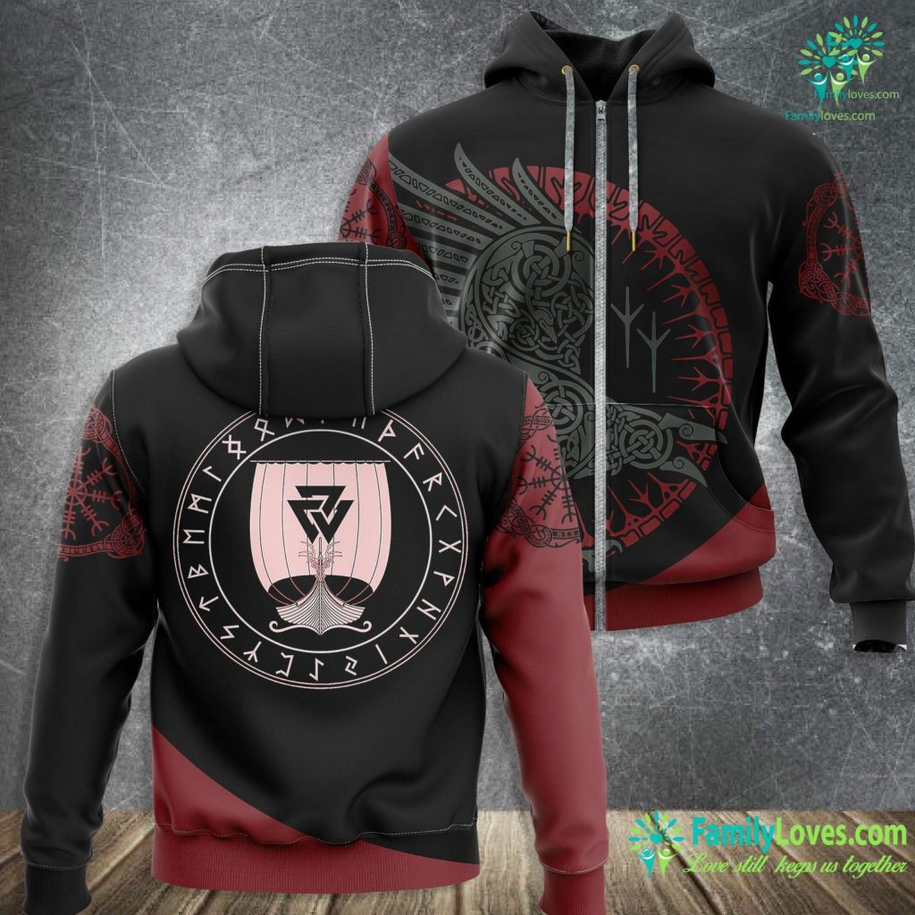 Thor Viking Viking Ship Boat In A Circle Of Norse Runes Viking Zip-up Hoodie All Over Print Familyloves.com