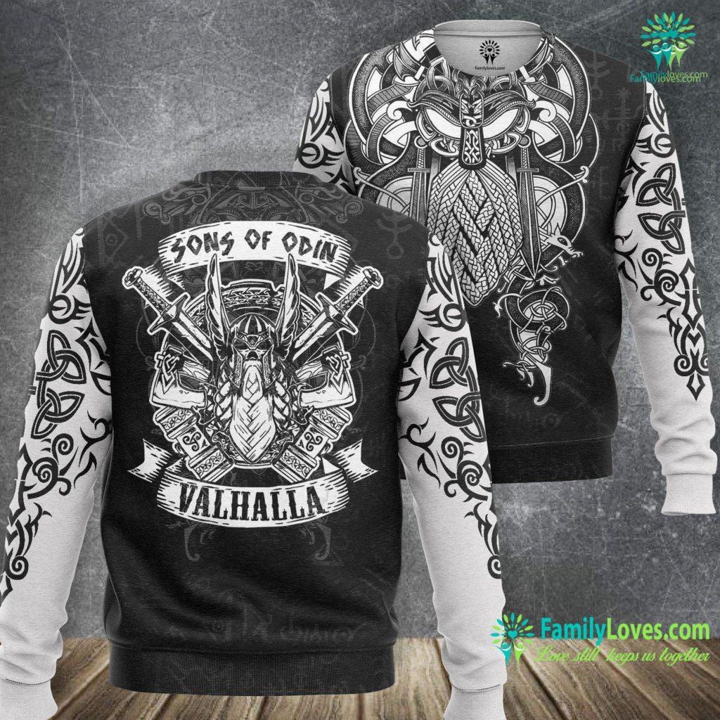 Viking Art Mens Sons Of Odin Valhalla Gift For A Viking Warrior Viking Sweatshirt All Over Print Familyloves.com