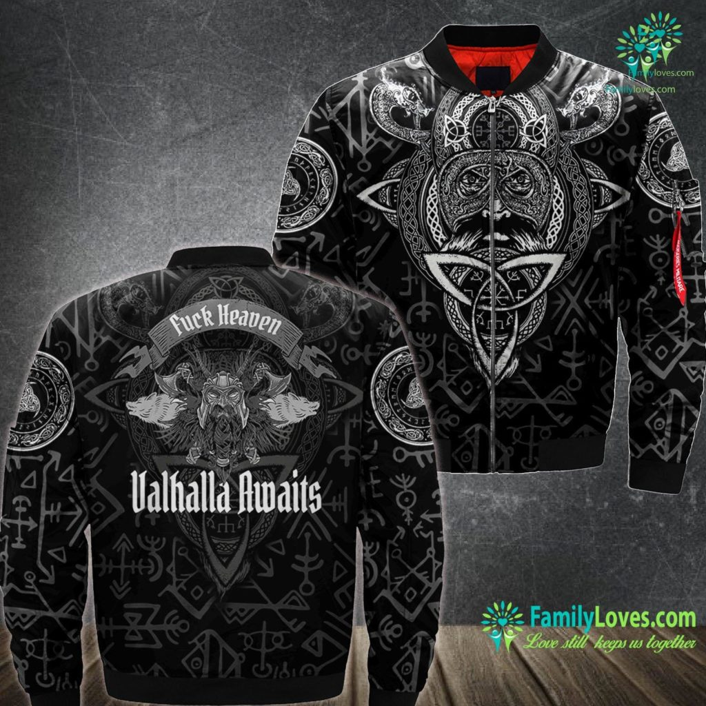 Viking Axe Grinder Fuck Heaven Valhalla Awaits Viking Viking Ma1 Bomber Jacket All Over Print Familyloves.com