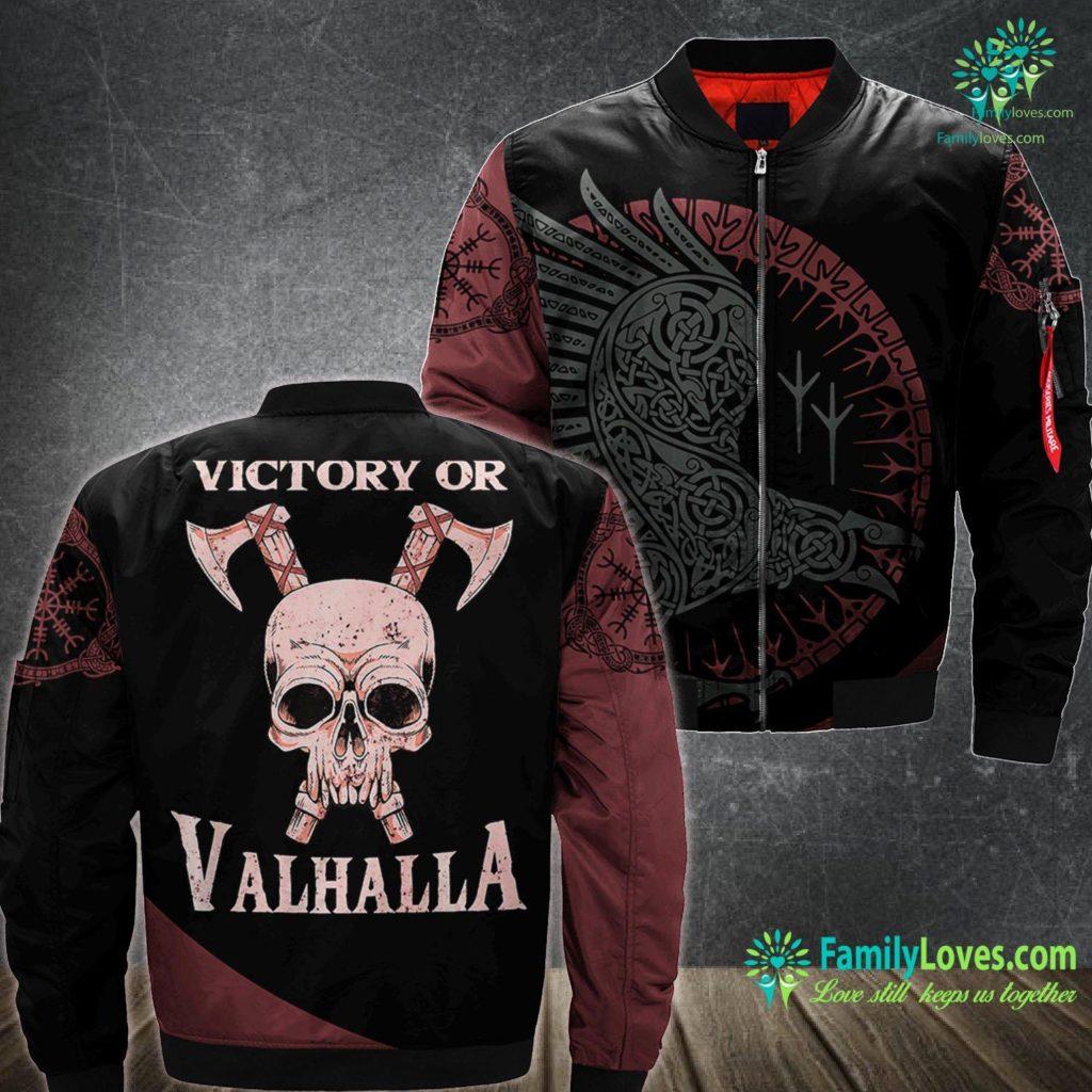 Viking Baby Viking Pagan Gift Norse Mythology Victory Or Valhalla Premium Viking Ma1 Bomber Jacket All Over Print Familyloves.com