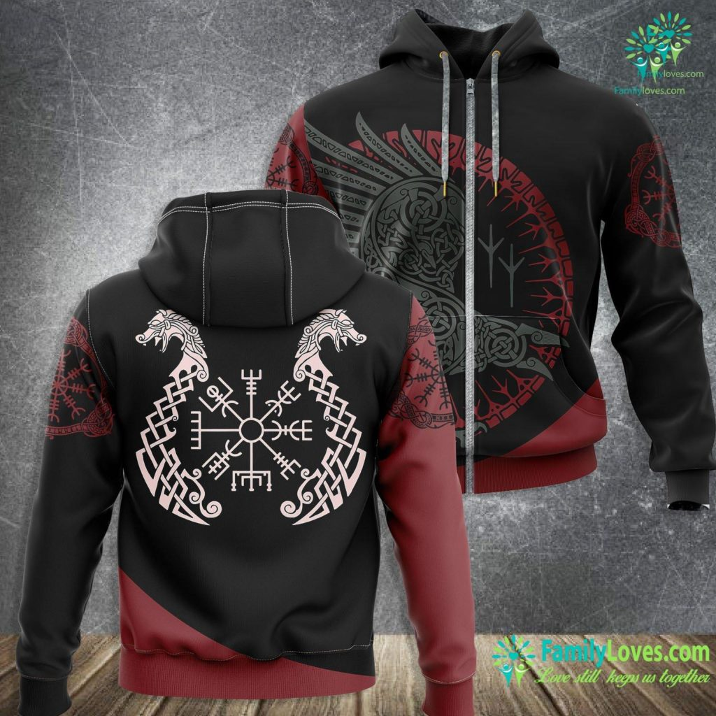 Viking Campers Viking Helm Of Awe Compass Viking Zip-up Hoodie All Over Print Familyloves.com