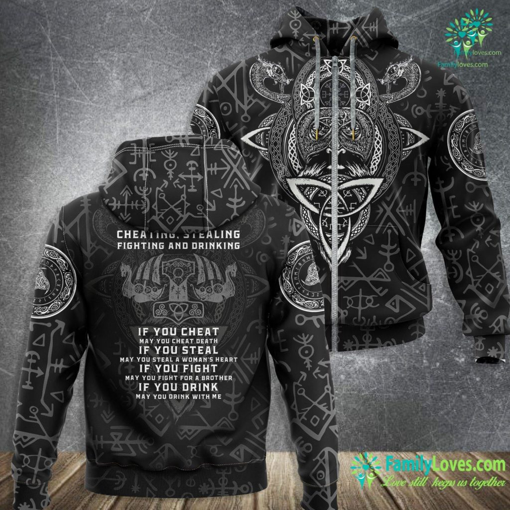 Viking Clothing Here S To Cheating And Stealing Viking Nordic Viking Zip-up Hoodie All Over Print Familyloves.com