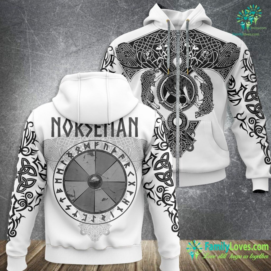 Viking Com Norseman Viking Shield With Runes Viking Zip-up Hoodie All Over Print Familyloves.com