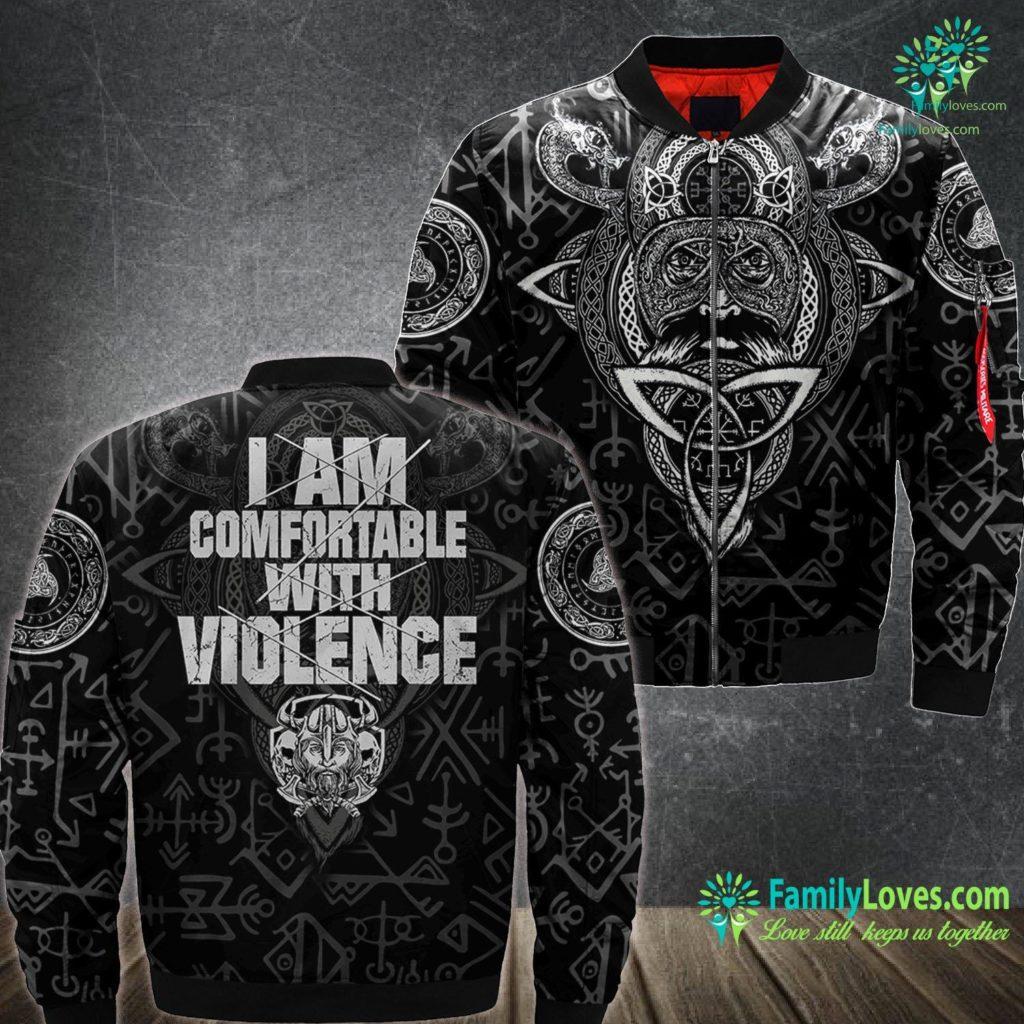 Viking Costume Male I Am Comfortable With Violence Viking Gift Viking Ma1 Bomber Jacket All Over Print Familyloves.com