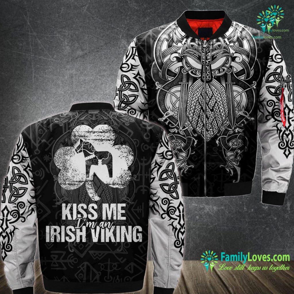 Viking Diet Kiss Me I M An Irish Viking St Patrick S Day Swedish Viking Ma1 Bomber Jacket All Over Print Familyloves.com