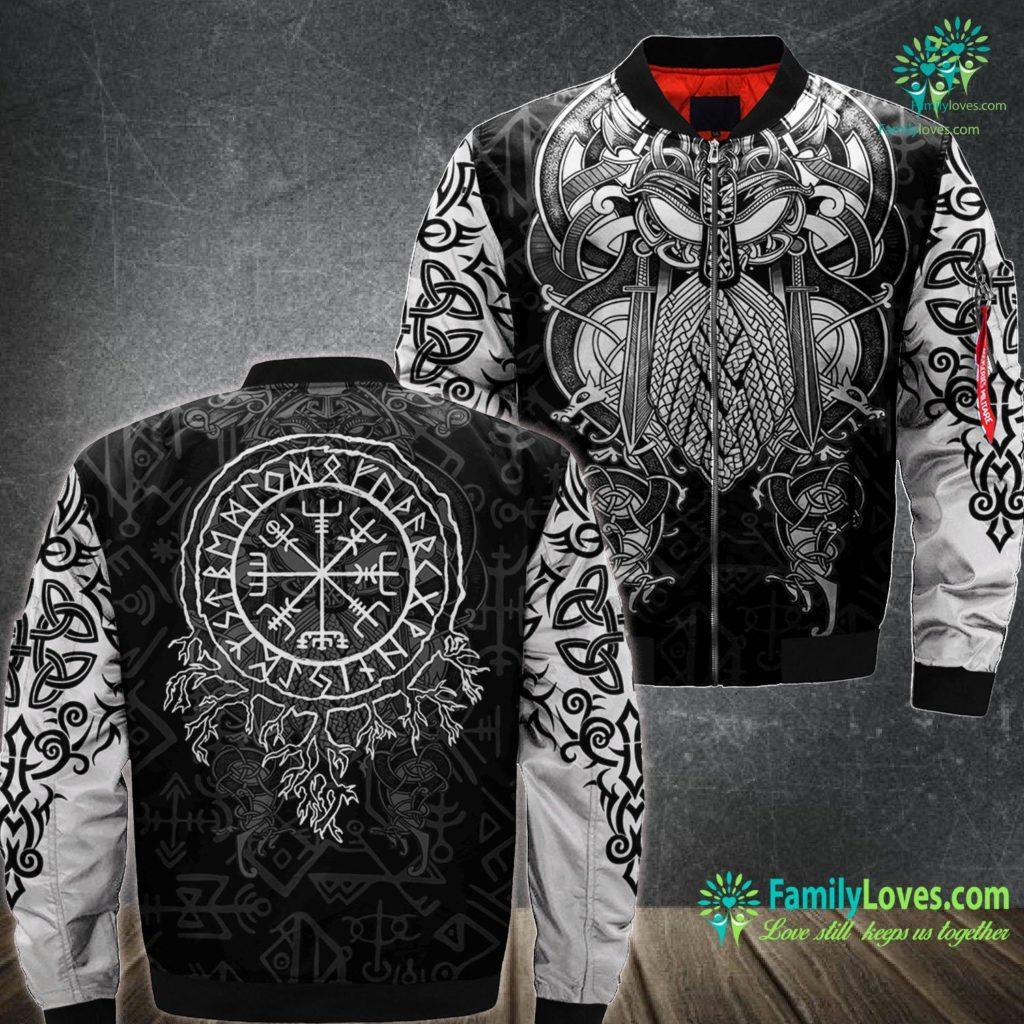 Viking Embroidery Machine Norse Mythology Viking Runes Spell Roots Viking Ma1 Bomber Jacket All Over Print Familyloves.com
