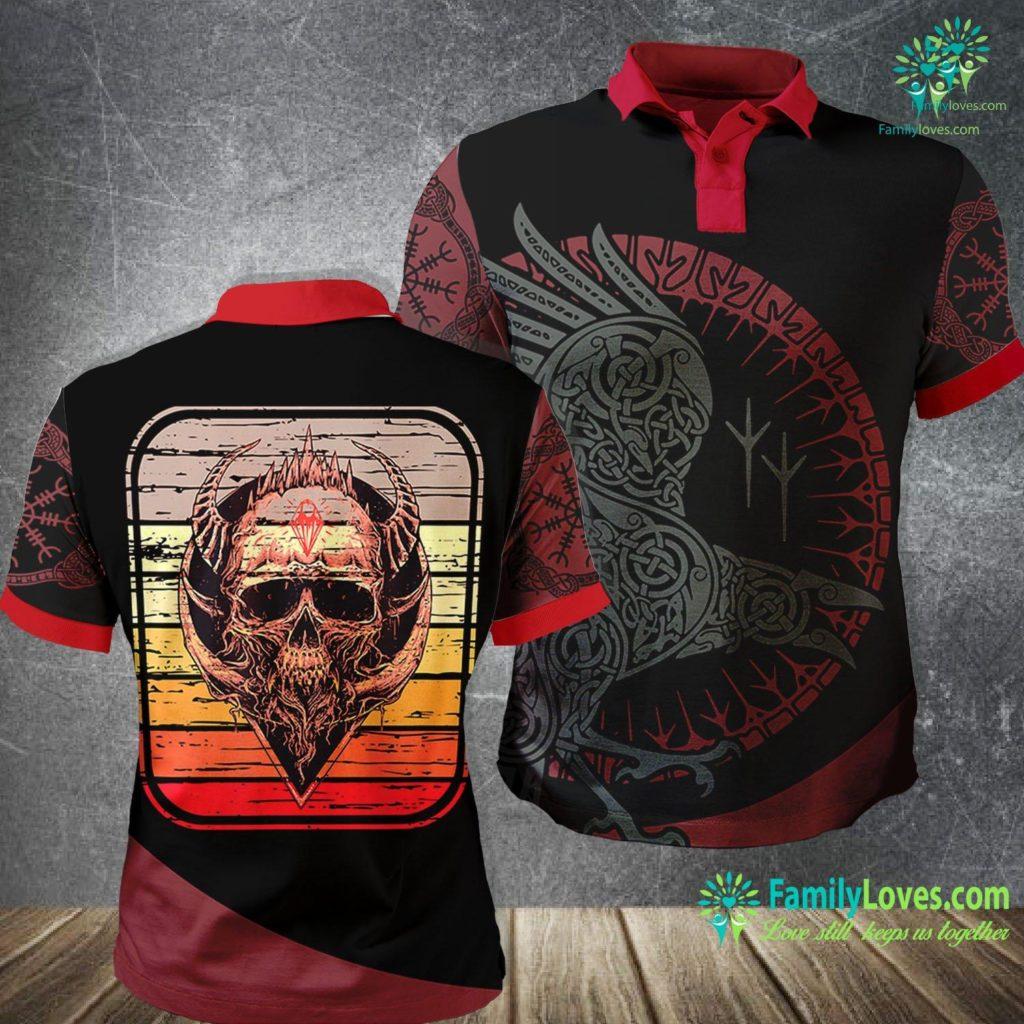 Viking Gas Range Viking Skull Rock Music Skulls Vikings Rockers Gift Viking Polo Shirt All Over Print Familyloves.com