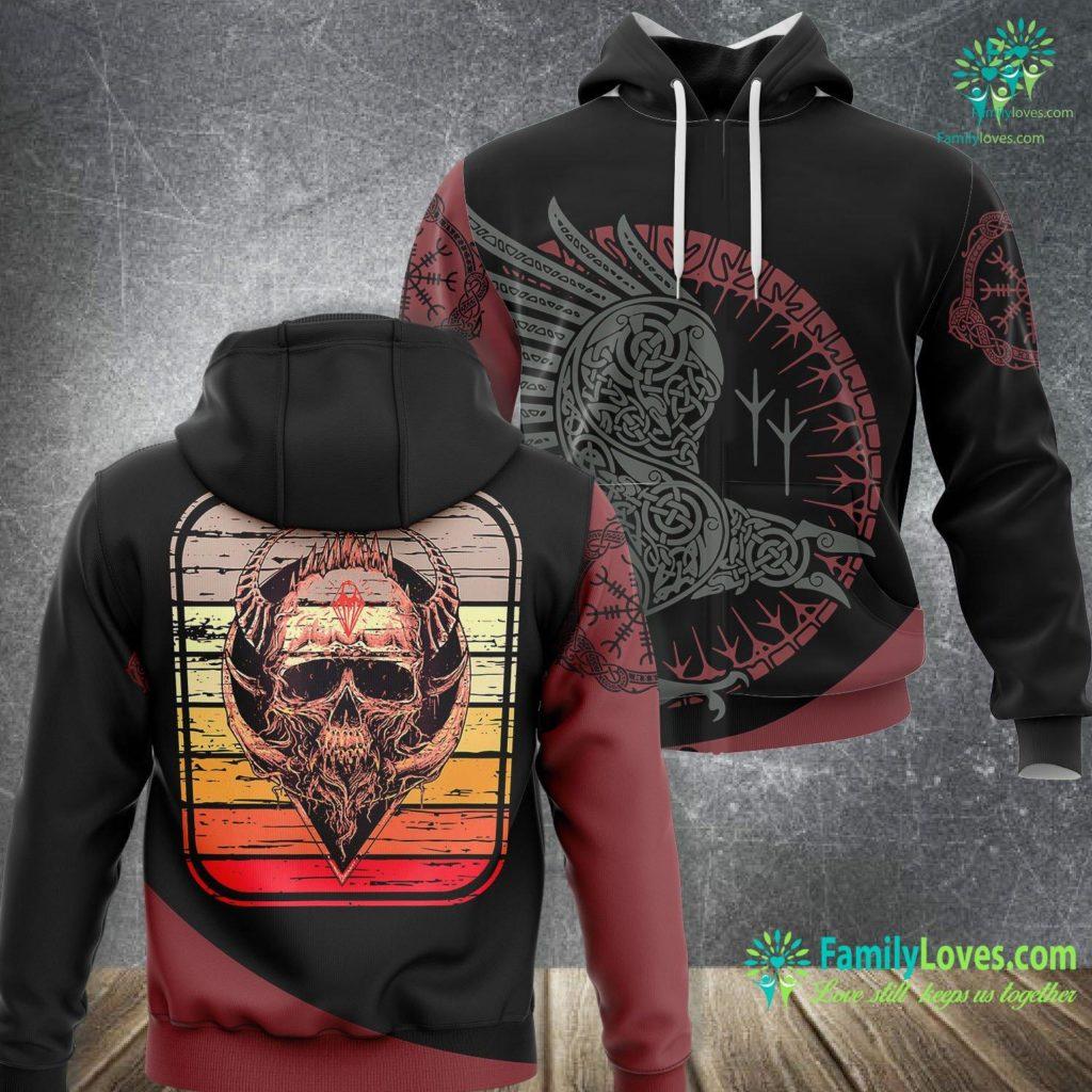 Viking Gas Range Viking Skull Rock Music Skulls Vikings Rockers Gift Viking Unisex Hoodie All Over Print Familyloves.com