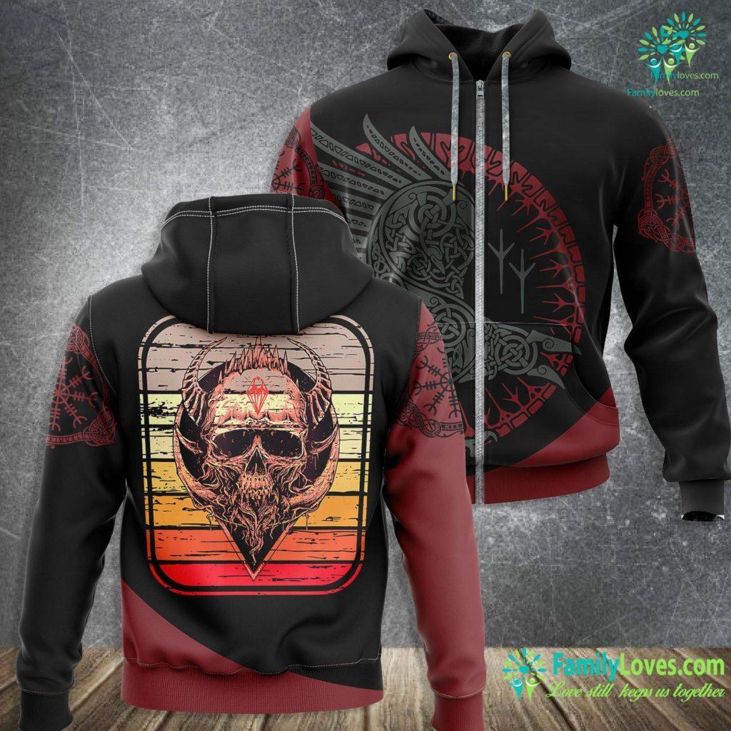 Viking Gas Range Viking Skull Rock Music Skulls Vikings Rockers Gift Viking Zip-up Hoodie All Over Print Familyloves.com