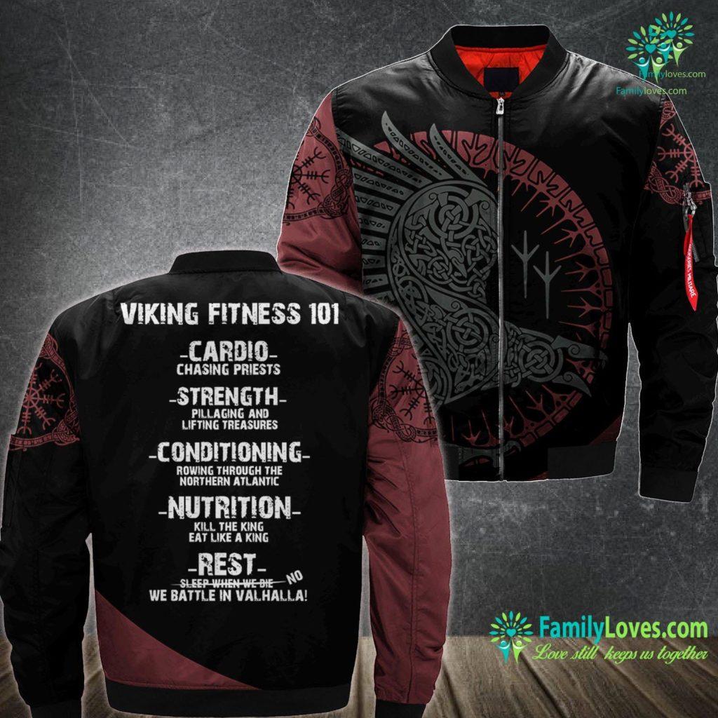 Viking Mead Viking Fitness 101 Gym Viking Ma1 Bomber Jacket All Over Print Familyloves.com
