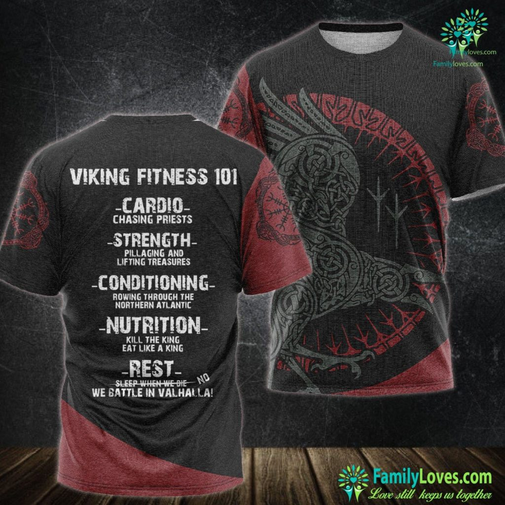 Viking Mead Viking Fitness 101 Gym Viking Unisex Tshirt All Over Print Familyloves.com