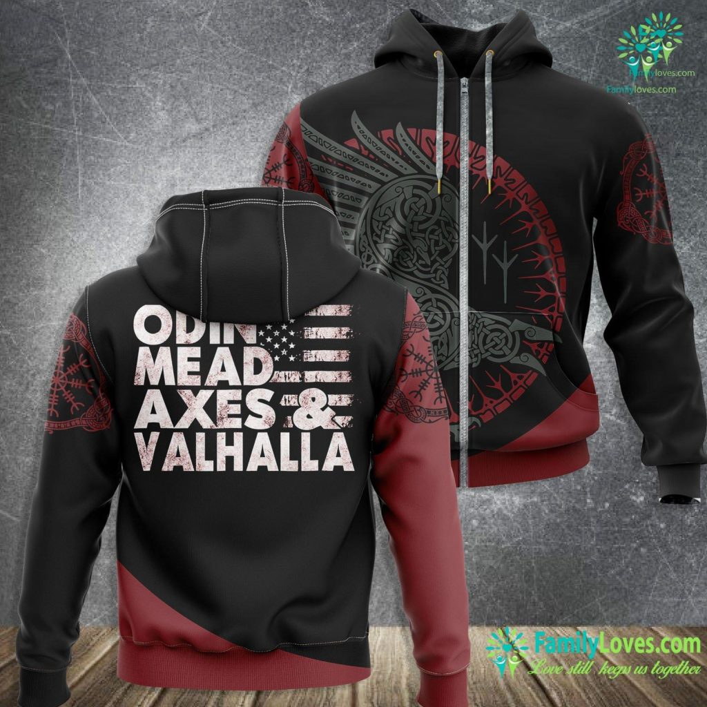 Viking Ocean Cruises 2021 Viking Odin Mead Axes Amp Valhalla American Flag Viking Zip-up Hoodie All Over Print Familyloves.com