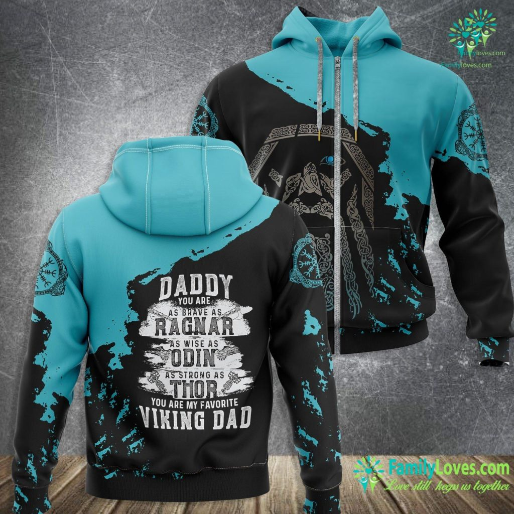 Viking Orion Daddy Is My Favourite Viking Father S Day Gift Viking Zip-up Hoodie All Over Print Familyloves.com