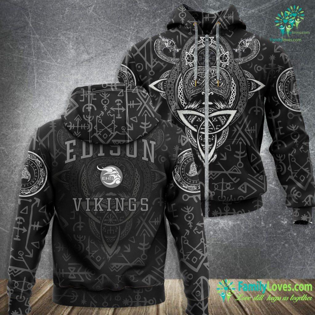 Viking Runes And Meanings Edison High School Vikings C1 Viking Zip-up Hoodie All Over Print Familyloves.com