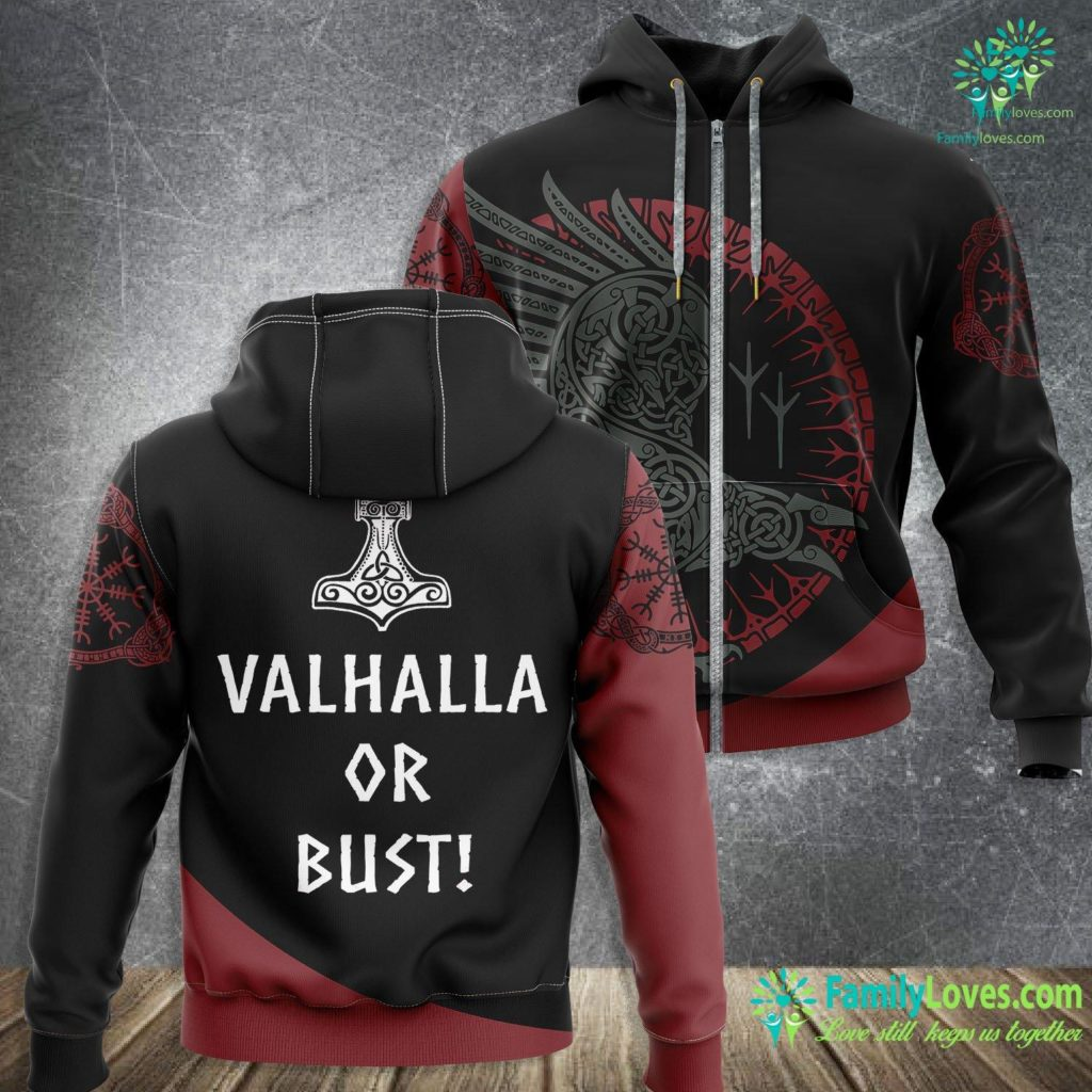 Viking Runes Translation Valhalla Or Bust Vikings Featuring The Thor Hammer Viking Zip-up Hoodie All Over Print Familyloves.com