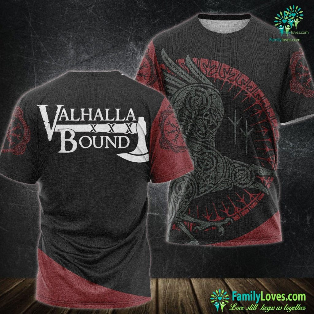Viking Ship Valhalla Bound You Will Receive Glory Viking Unisex Tshirt All Over Print Familyloves.com